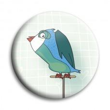 Button: vogel op stok