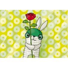 Postkaart: Softie met roos