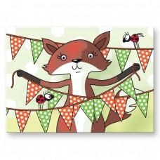 Postkaart: Vlaggen vosje