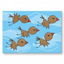 Postkaart: Vogels in de wolken
