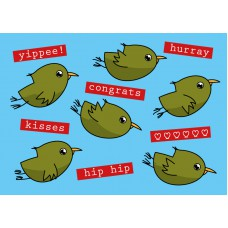 Postkaart: felicitatie vogeltjes