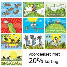 Voordeelset: 10 postkaarten met vogels