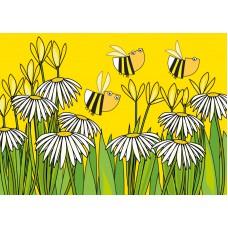 Postkaart: Bloemen en bijen